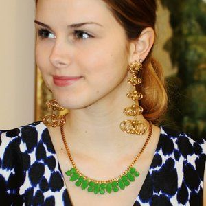 [NWT] Kate Spade - Gold Green Marquise Necklace